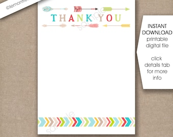 Tribal Baby Shower Thank You Notes, INSTANT download / flat printable thank you cards, 5x7 and 4x6, neutral gender stationery