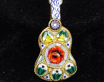 Vintage Colorful Micro Mosaic Guitar Musical Instrument Pin Brooch