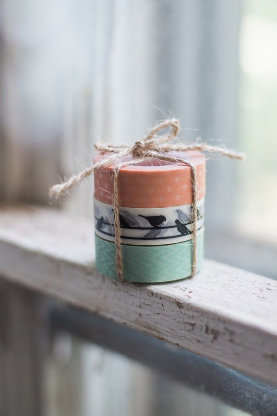 Happy Bird Washi Tape Trio -  black birds, peach dot, mint zig zag tape,  planner stickers,  Paper Tape, Japanese Washi tape