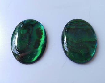 Genuine natural Paua shell cabochon set