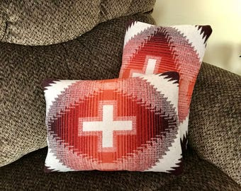 Wool Pillow Cover / Accent Pillow Cover 16 x 12 Sienna Red & Brown Zipper Closure Southwestern Handcrafted Pendleton Woolen Mills Fabric