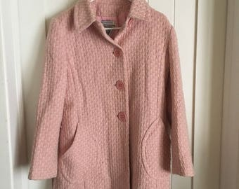Pink and White Heavy Knit Coat