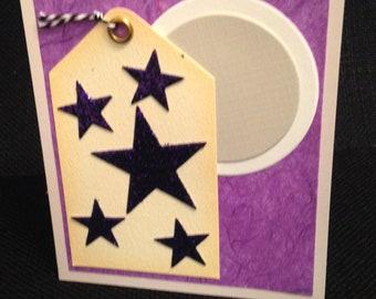Blank Card with Purple Glitter Stars