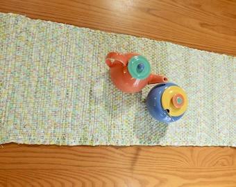 Handwoven Spring Pastel Rag Table Runner, RU05