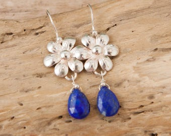 Flower Earrings, Lapis Lazuli, Silver Earrings