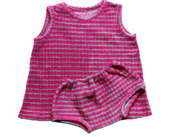 FRENCH VINTAGE 60/70's / kids / summer ensemble / tunic top and panties / striped terry cloth / new old stock / size 2 years