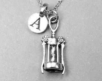 Small Corkscrew Charm Necklace 3D silver plated charm on a delicate silver plated chain