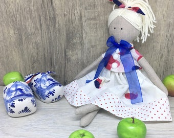 "Textile Doll Handmade Linen Doll Fabric Soft Doll Home Decor Rag Doll Independence Day Gift for her 33 cm (13"")"