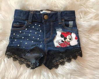 Minnie Mouse Distressed Shorts