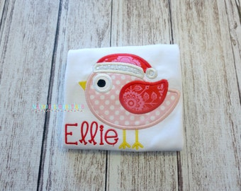 Christmas Bird Appliqued Shirt - Embroidered, Personalized, Monogram, Christmas Bird Shirt, Girls Bird, Santa Bird, Holiday, Christmas