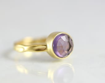 Amethyst Ring - Stacking Rings Amethyst - Round Cut Gold Ring - Amethyst Ring Women - February Birthstone Ring - Amethyst Birthstone Ring