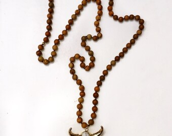 Wood Jasper Longhorn Necklace
