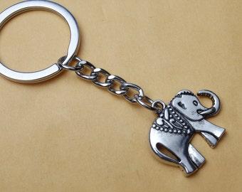 Elephant Keychain, Animal Keychain, Indian Elephant, Silver Elephant, Baby Elephant, Pet, Zoo, Gift Idea, Personalised, Customised Keychain