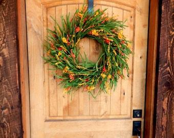 Summer Wreath-Fall Wreath-Autumn Wreath-Orange WILDFLOWER Wreath-Autumn Door Wreath-Housewarming Wreath-Gift for Mom-Door Wreath-Gifts