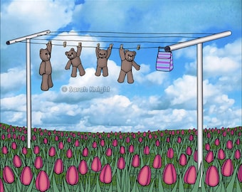teddy bears and tulips, signed digital illustration art print 8X10 inches, clothesline laundry picture whimsical sky blue green pink flowers