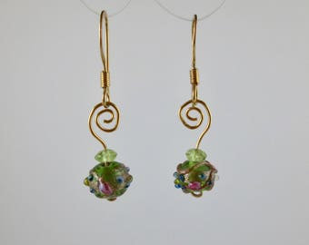 "Venetian Glass ""Cakes"" Green Earrings with Peridot on Gold"