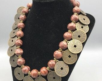 Handmade Chinese Coin Pendant & Stone Bead Necklace