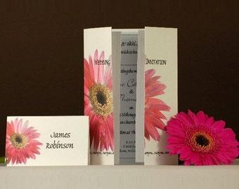 Pink Gerbera Wedding Invitation On Gatefold Card