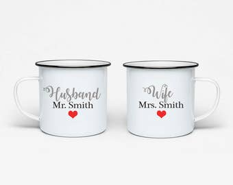 Personalised Enamel His & Hers Mugs -  set of 2 - wife husband wedding gift