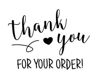 """Thank You For Your Order Stamp, packaging stamp, envelope stamp, card and tags stamp, small business stationery, 2""""x1.4"""" (txt12)"""