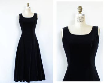 Laura Ashley Velvet Dress S • Black Velvet Dress • 80s Velvet Dress • Velvet Evening Dress • 80s Evening Dress • Laura Ashley Dress | D1488