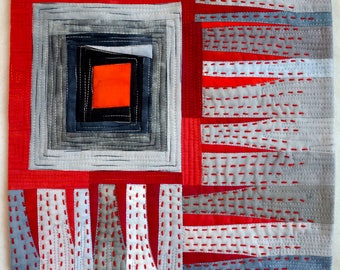 Art quilt, abstract quilt, wall hangin, wall decor- Fire and Ice