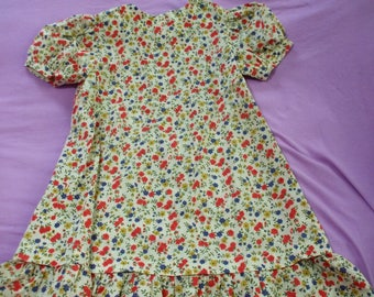 Vintage Home Made Girls Short Sleeve Dress Zippered Back