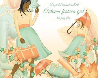 Autumn clipart, Autumn girl clipart, Fall fashion clipart, Planner sticker, Autumn leaves, Fall clipart, Autumn fashion illustration fall