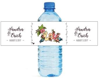 Love Floral Wedding Water Bottle Labels Great for Engagement Bridal Shower Party Self Stick Labels