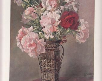 """Exquisite 1911 Authentic Le Journal de la Decoration Flowers,A/S Guerinet In Vase MAGIC 10"""" X 14""""Art Nouveau"""