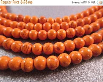 ON SALE 20% OFF Cotton Candy Orange Magnesite Beads Round 6mm 71pcs