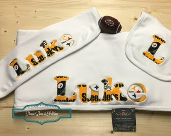 Pittsburgh Steelers Personalized Baby Gift Set, Steelers Baby, Baby Steelers, NFL Baby, Baby Shower Gift,Personalized Blanket Burp Cloth Bib