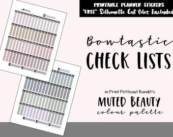 Muted Beauty Bowtastic Check Lists: Printable Planner Functional Bow Checklists / Bow Functional Printable Planner Stickers / Cut Files