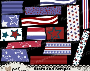 Stars and Stripes Digital Washi Tape pack comes in shades of red, white and blue with fun stars designs, waves, & stripes. Instant Download