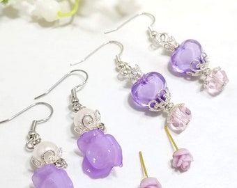 Rose Floral earring set of three (pastel pink and purple)