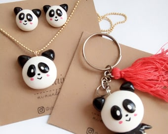 Set Panda keychain necklace and keychain Earrings