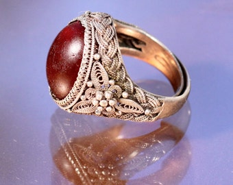 Vintage 50s Ring Sterling Ring Amber Color Glass Ring Chinese Ring Floral Ring Ring Size 5.25
