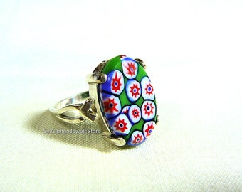 Sterling Silver Ring Melifori Italian Glass Cab Statement Jewelry SylCameoJewelsStore