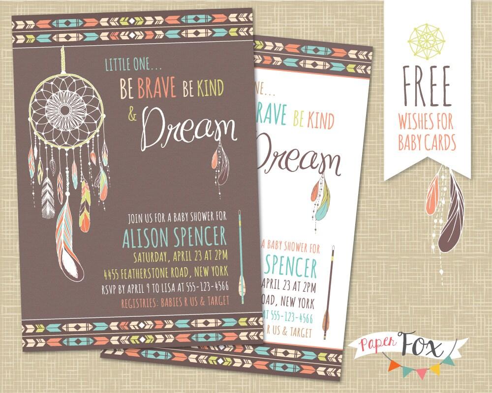 Dreamcatcher Baby Shower Invitation / Tribal Baby Shower /