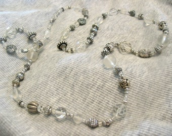 Clearly Silver Beaded Necklace - One of a kind with Free Shipping