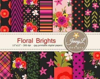 Floral digital paper,  Black Wedding Floral Paper Digital scrapbooking, invitations, birthday, wedding, Planners