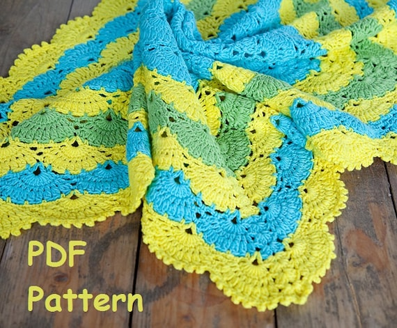 Crochet Lace Shell Stitch Baby Afghan Pattern Square Afghan Baby