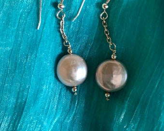 Flat fresh water pearl earrings