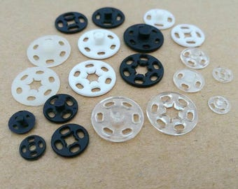 KAM Resin Plastic Round Press Studs Snap Fasteners Invisible Poppers Sewing Buttons 7/10/13/15/ 18/ 21mm black Clear Translucent White pick