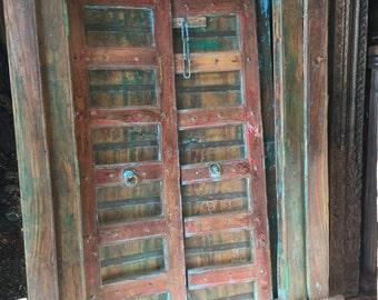 Antique Indian Old Doors Frame Bookcase Hand Carved Book Shelf