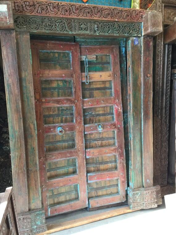 - Antique Indian Door Hand Carved Blue Patina SUNKISSED Teak