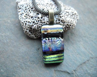 Gold fused glass pendant, Fused glass jewelry,  Dichoric glass pendant, Glass jewelry, OOAK