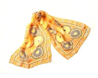 Orange scarf, flower scarf, daisy scarf, 1960s scarf, 60s scarf, hippie scarf, floral print scarf, silk scarf