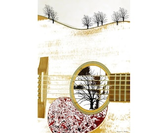 Roots Of Music Guitar Art, Music Wall Hanging, Instrument Rock n Roll, Guitarist Landscape, Sepia Maroon, Home Decor, 8 x 10, Giclee Print