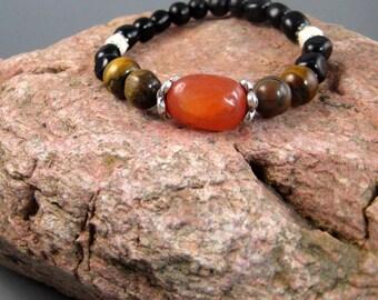 Mens stretch bracelet, carnelian and tiger eye bracelet, stacking bracelet, beaded bracelet, BOHO bracelet, tribal, gemstone bracelet, mans